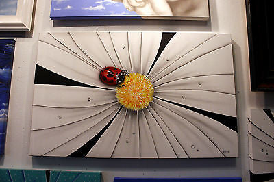 "Michael Godard ""Black and White Flower - Lady Bug"" Original"
