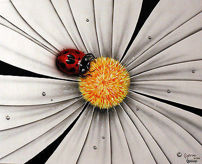 "Michael Godard -B&W ""Lady Bug"" Flower  Limited Giclee canvas 17.5""by""22"" -Art Center Gallery www.shopartcenter.com  1-866-254-6523"