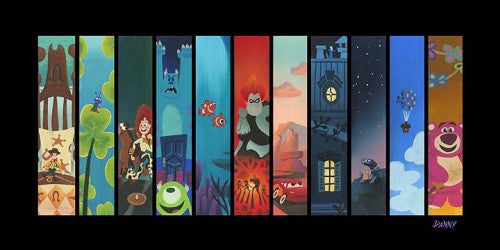 "Disney Fine Art Disney ""THE PIXAR STORYLINE (LITHOGRAPH) "" Size: 13 x 26 