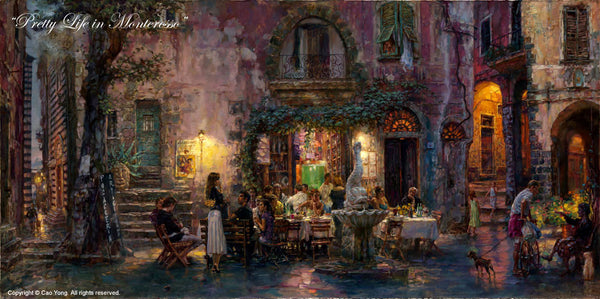 "CAO YONG ""Pretty Life in Monterosso"" LIMITED EDITION H/E CANVAS 18"" by 36"" - Art Center Gallery"