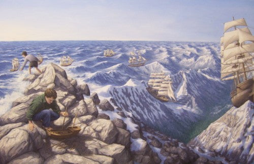 "Rob Gonsalves Rob Gonsalves "" Alpine Navigation"" Giclée on Paper 7"" h x 14"" w Limited 300 Paper and Canvas Giclee"