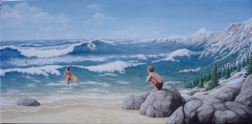 "Rob Gonsalves Rob Gonsalves "" Alpine Mountaineering "" Giclée on Paper 7"" h x 14"" w Limited 295 Paper and Canvas Giclee"