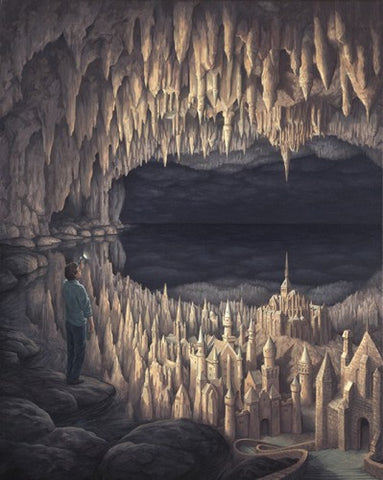 "Rob Gonsalves Rob Gonsalves- "" As Above , As Below""-Giclée on Paper 8.5"" h x 10.5"" w  Limited 300 Canvas & Paper Giclees & Prints"
