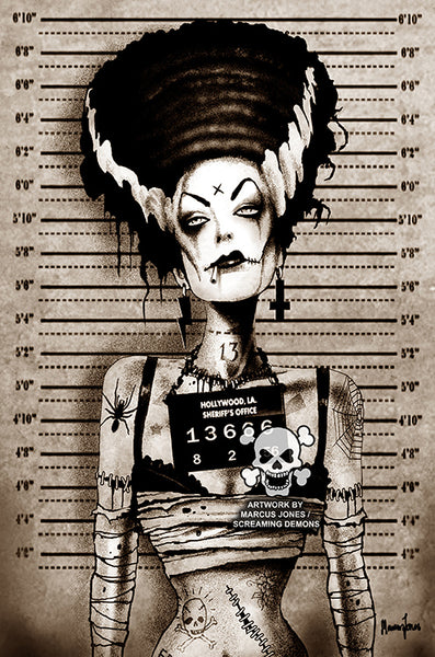 "Marcus Jones - Screaming Demons ""Bride Mugshot"" Canvas Giclee"