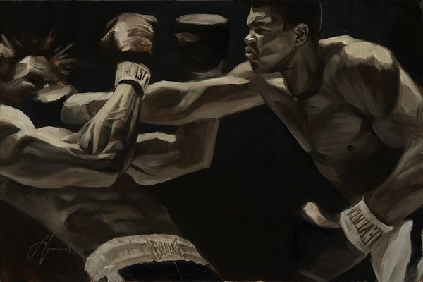 "Gabe Leonard ""THE GREATEST""- Size 24"" X  36 ""-ORIGINAL OIL  SOLD !"