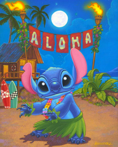 "Manuel Hernandez Disney ""Hula Stitch"" Limited Edition Canvas Giclee"