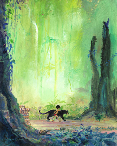 "Harrison Ellenshaw Disney ""Mowgli and Bagheera"" Limited Edition Canvas Giclee"