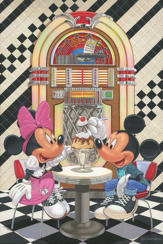 "Manuel Hernandez Disney ""Sundae for Two"" Limited Edition Canvas Giclee"
