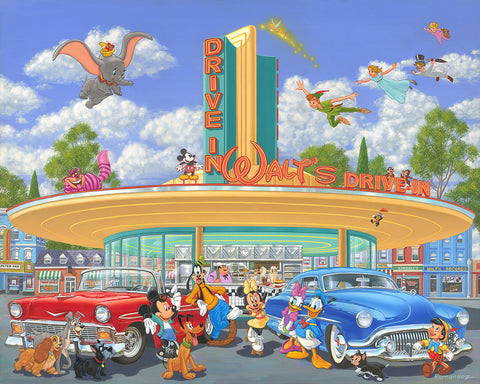 "Manuel Hernandez Disney ""Walt's Drive In"" Limited Edition Canvas Giclee"