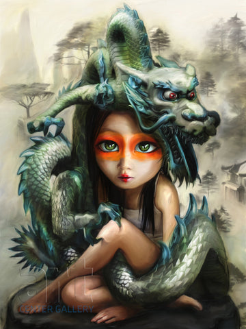 "Richard J. Oliver ""Dragon Girl"" Limited Edition Canvas Giclee"