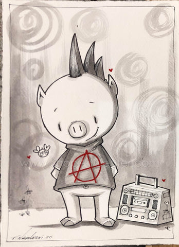 "Fabio Napoleoni ""Being a Punk"" Original Original Pen and Ink"