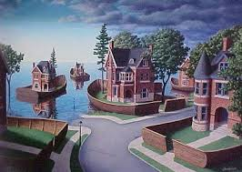 "Rob Gonsalves Rob Gonsalves ""Flood Fences"" Giclée on Paper   7.25 x 10"" Limited 395 Paper and Canvas Giclee"