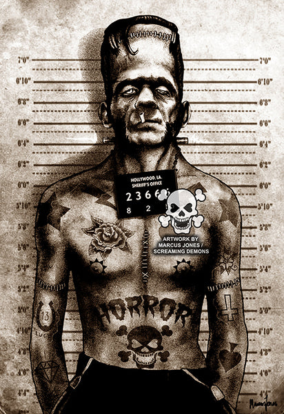 "Marcus Jones - Screaming Demons ""Franky Mugshot"" Canvas Giclee"