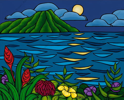 "Heather Brown ""Full Moon Over Diamond Head"" Limited Edition Canvas Giclee"