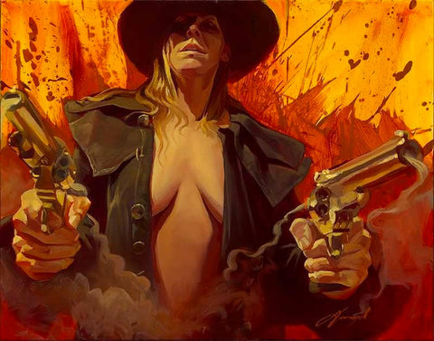 "Gabe Leonard ""Guns A Blazin'"" Limited Edition Canvas Giclee"