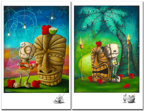 "Fabio Napoleoni ""Hawaiian Set"" Somewhere Over My Rainbow and Relax and Unwind Limited Edition Paper Giclee"