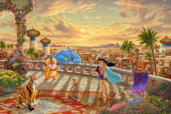 "Thomas Kinkade Studios Disney ""Jasmine Dancing in the Desert Sunset"" Limited Edition Canvas Giclee"