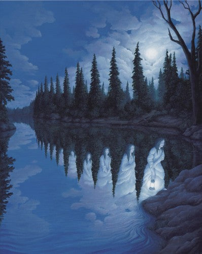 "Rob Gonsalves Rob Gonsalves ""Ladies of the Lake"" Giclée on Paper  7.25 x  9"" Limited 395 Paper Giclee"