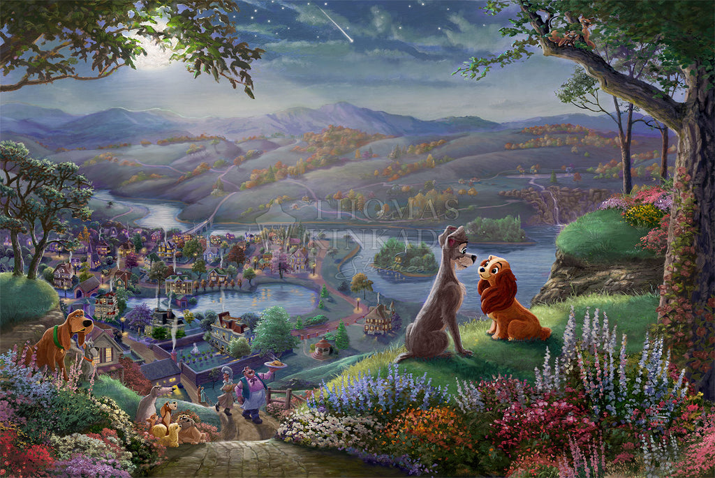 Disney Lady And The Tramp Falling In Love By Thomas Kinkade Studios Art Center Gallery