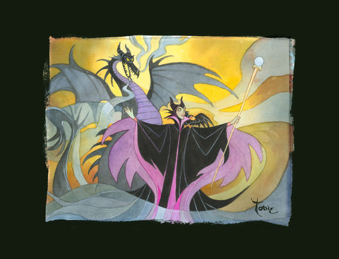 "Toby Bluth Disney ""Maleficent"" (Chiarograph) Limited Edition Paper Giclee"