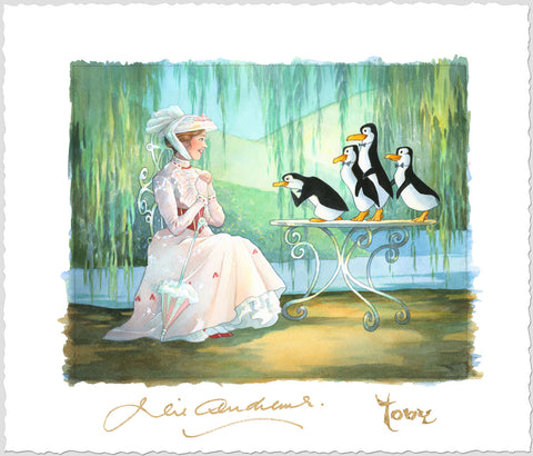 "Toby Bluth Disney ""Mary Poppins And Merry Penguins"" Limited Edition Paper Giclee"