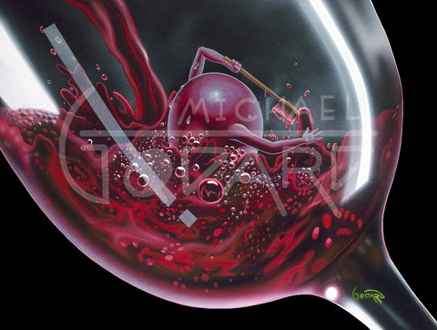 "Michael Godard ""Red Wine Bath"" Limited Edition Canvas Giclee"