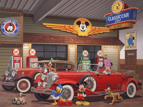 "Manuel Hernandez Disney ""Mickey's Classic Car Club"" Limited Edition Canvas Giclee"