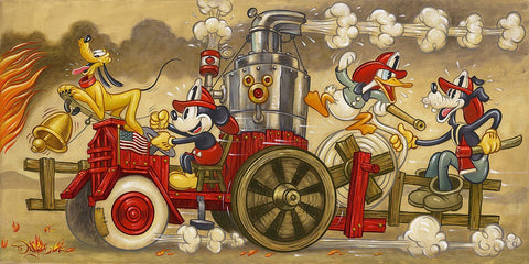 "Tim Rogerson Disney ""Mickey's Fire Brigade"" Limited Edition Canvas Giclee"