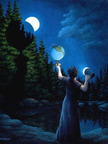 "Rob Gonsalves Rob Gonsalves ""New Moon Elipsed"" Giclée on Paper  7.5"" x 9"" Limited 195 Paper and Canvas Giclee"