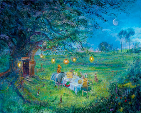 "Harrison Ellenshaw Disney ""Pooh's 80th - Garden Party"" Limited Edition Canvas Giclee"