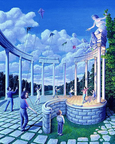 "Rob Gonsalves Rob Gonsalves- ""Pulling Strings""-Giclée on Paper  7.25""  x  9""  Limited 395 Paper and Canvas Giclee"