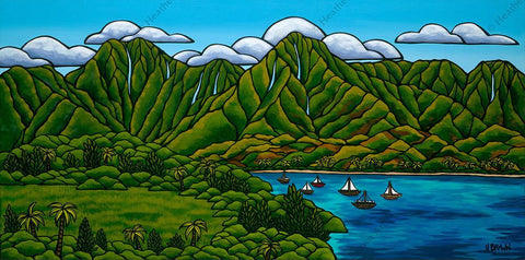 "Heather Brown ""Sailboats in Hanalei"" Limited Edition Canvas Giclee"