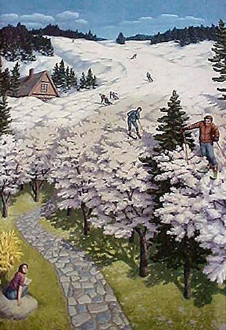 "Rob Gonsalves Rob Gonsalves- ""Spring Skiing""-Giclée on Paper  7.5""  x  10""  Limited 300 Paper and Canvas Giclee"