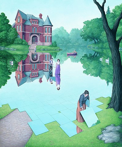 "Rob Gonsalves Rob Gonsalves- ""Still Waters""-Giclée on Paper  5""  x  6""  Limited 395 paper Giclee"