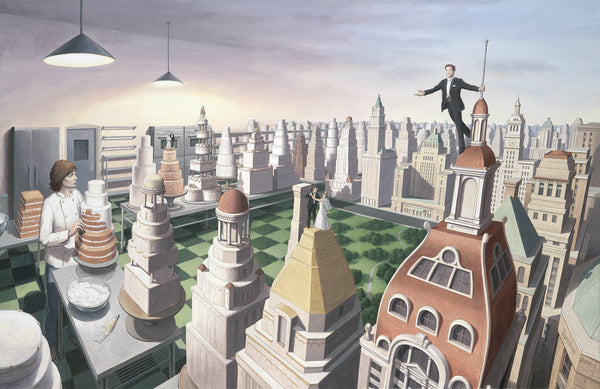 "Rob Gonsalves Rob Gonsalves "" Sweet City ""-Giclée on Paper 8.5"" h x 13.5"" w limited 300 Paper and Canvas Giclee"