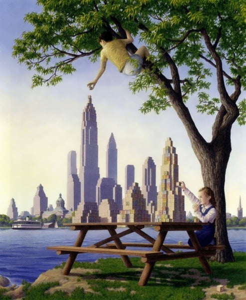 "Rob Gonsalves Rob Gonsalves "" TableTop Tower ""-Giclée on Canvas 19.75"" x 39.18 limited 100 Canvas Giclee"