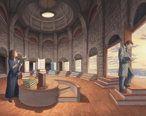 "Rob Gonsalves Rob Gonsalves- ""Space between the Words""-Giclée on Paper  14""  x  9.5""  Limited 300 Paper and Canvas Giclee"