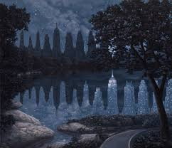 "Rob Gonsalves Rob Gonsalves ""When the Lights where out "" Giclée on Paper   9.5 x 11 "" Limited 300 paper Giclee"