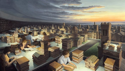 "Rob Gonsalves Rob Gonsalves ""Towers of Knowledge"" Giclée on Paper   8 x 14"" Limited 300 Paper and Canvas Giclee"