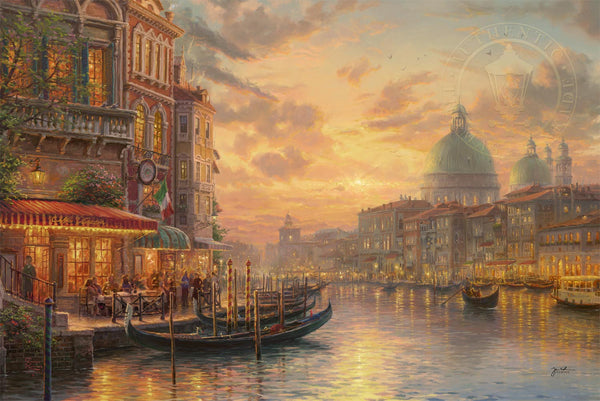 "Thomas Kinkade Studios ""Venetian Café"" Limited Edition Canvas Giclee"