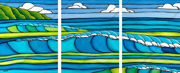 "Heather Brown ""Wave Triptych"" Limited Edition Canvas Giclee"