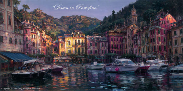 "CAO YONG ""Dawn of Portofino"" LIMITED EDITION H/E CANVAS 18"" by 36"" - Art Center Gallery"