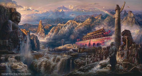 "CAO YONG ""Voice of the East"" LIMITED EDITION H/E CANVAS 28"" by 52"" -Art Center Gallery www.shopartcenter.com  1-866-254-6523"