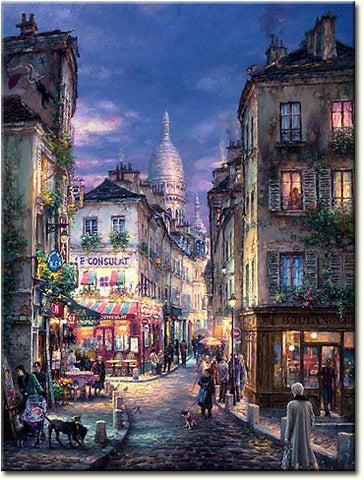 "Cao Yong CAO YONG ""A Stroll in Montmartre"" Limited Edition H/E CANVAS 26.5"" by 20"" Paintings"