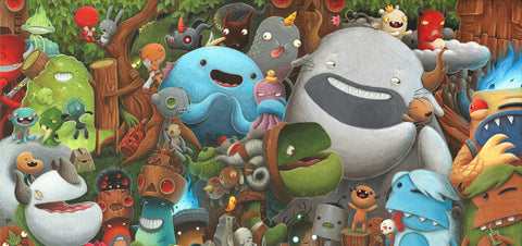 "JustinJustin Hillgrove "" Imps and Monsters "" 18"" x 36"" Limited A/P Edition Canvas of 114"