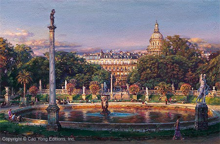 "Cao Yong CAO YONG ""The Luxembourg Garden II: La Fountaine"" Limited Edition H/E CANVAS 24"" by 36"" Paintings"