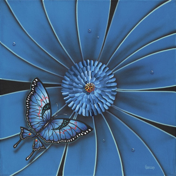 "Michael Godard ""Blue Flower w/Butterfly""  18"" by 18"" Limited Ed G Series 250 - Art Center Gallery"