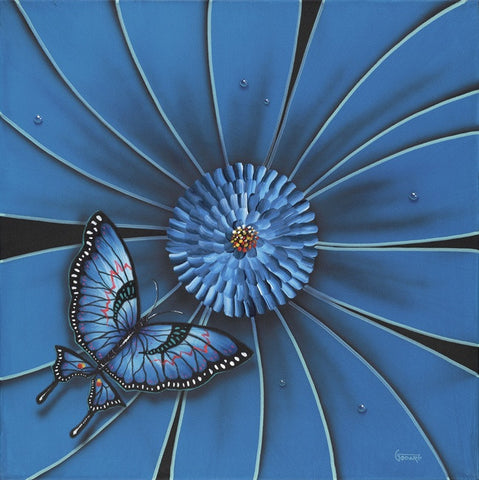 "Michael Godard ""Blue Flower Butterfly"" Limited Edition Canvas Giclee"