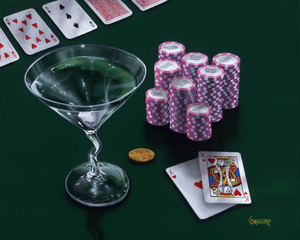 "Michael Godard ""Poker Chips, Big Slick"" 17.5 by 22 Limited Ed G Series 250 - Art Center Gallery"