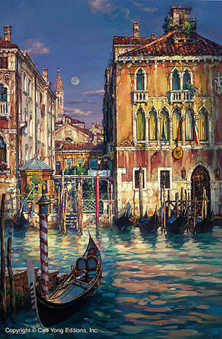 "CAO YONG ""Venetian Sunset"" LIMITED EDITION H/E CANVAS 30"" by 20"" - Art Center Gallery"